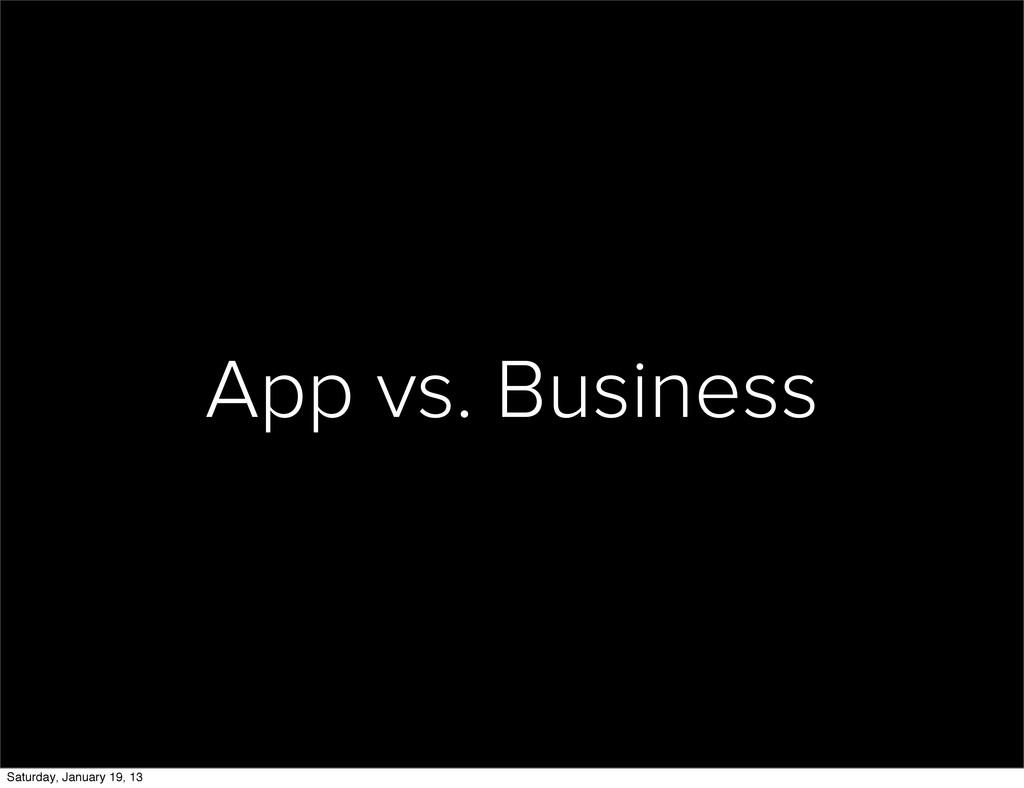 App vs. Business Saturday, January 19, 13