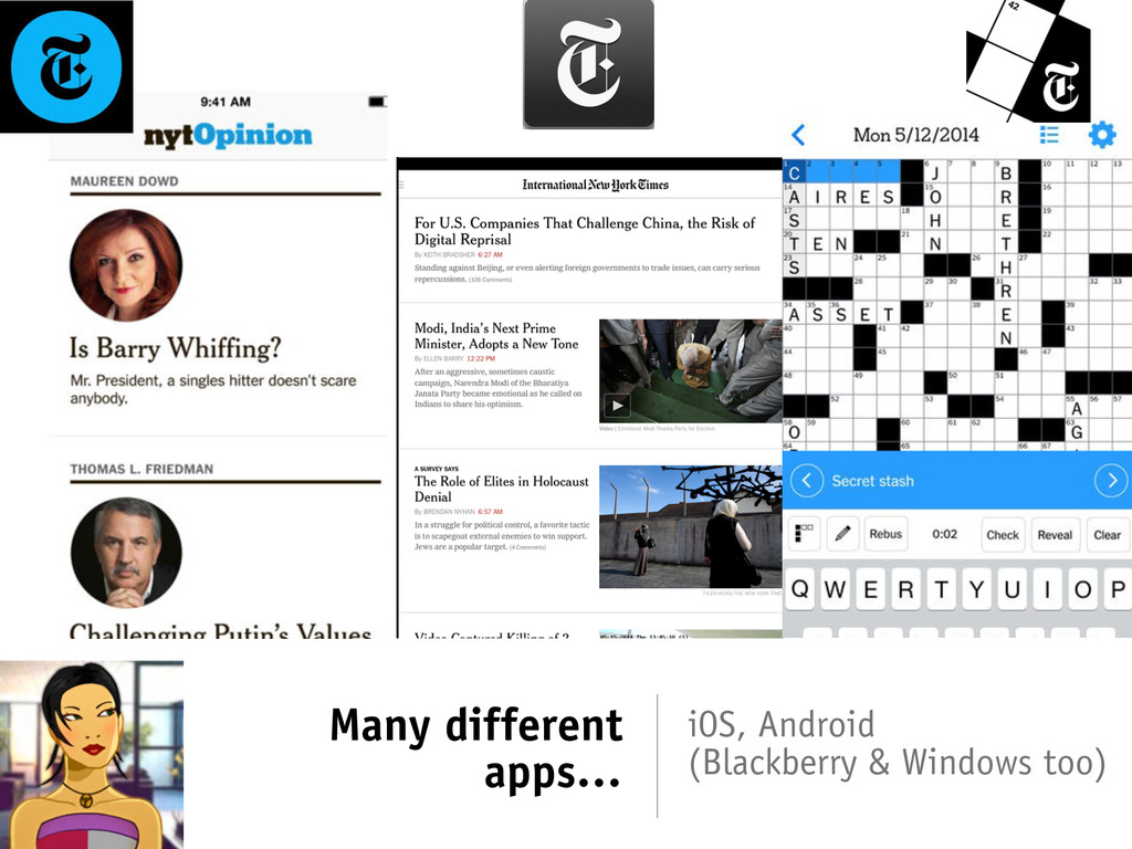 Many different apps… iOS, Android (Blackberry &...