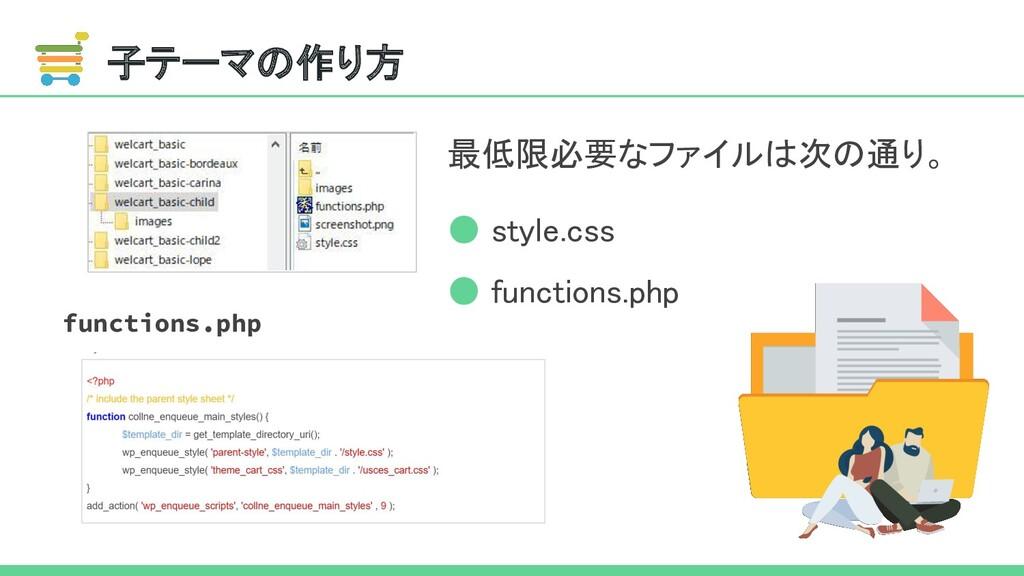 子テーマの作り方 CSS PP 最低限必要なファイルは次の通り。 ● style.css ...