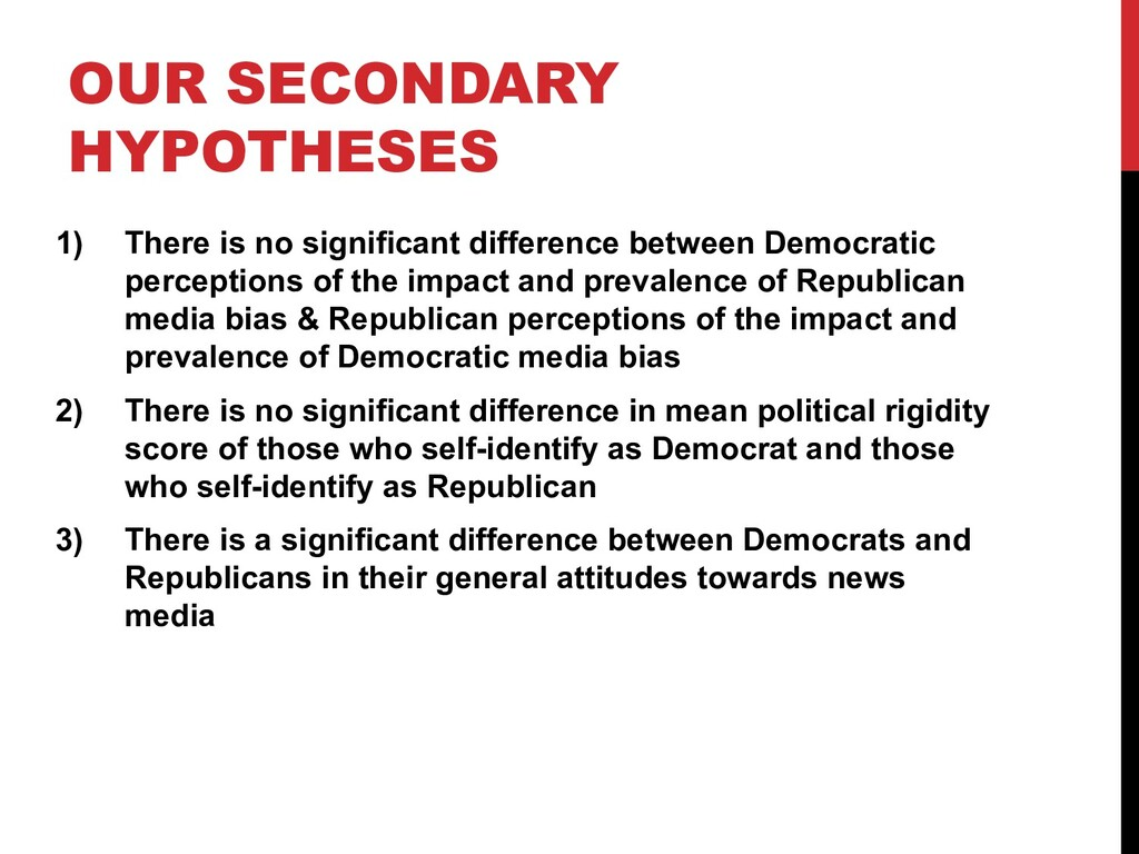 OUR SECONDARY HYPOTHESES 1) There is no signifi...
