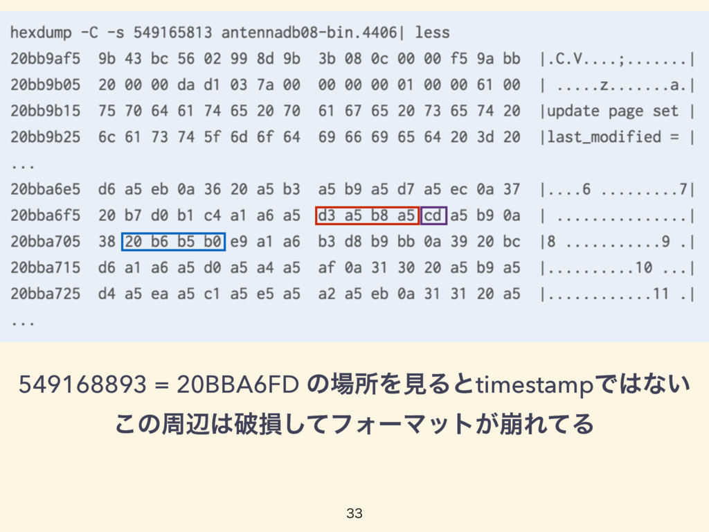 549168893 = 20BBA6FD ͷॴΛݟΔͱtimestampͰͳ͍ ͜ͷपล...