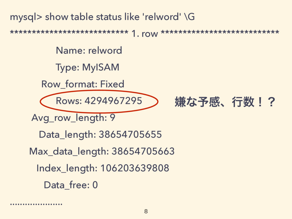 mysql> show table status like 'relword' \G ****...
