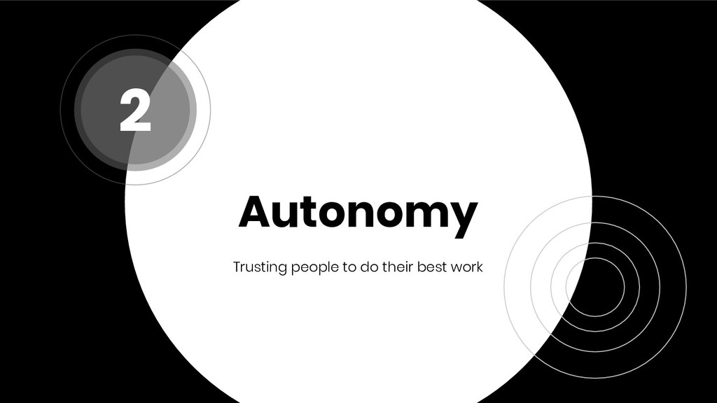 Autonomy Trusting people to do their best work 2