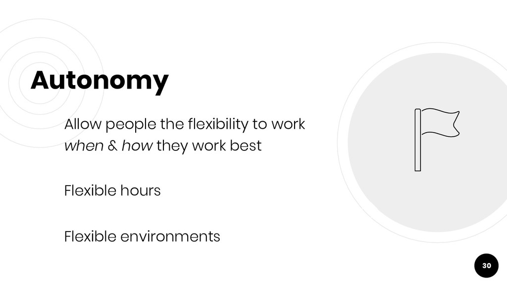 Autonomy Allow people the flexibility to work w...