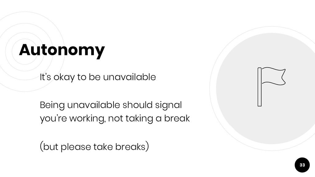 Autonomy It's okay to be unavailable Being unav...