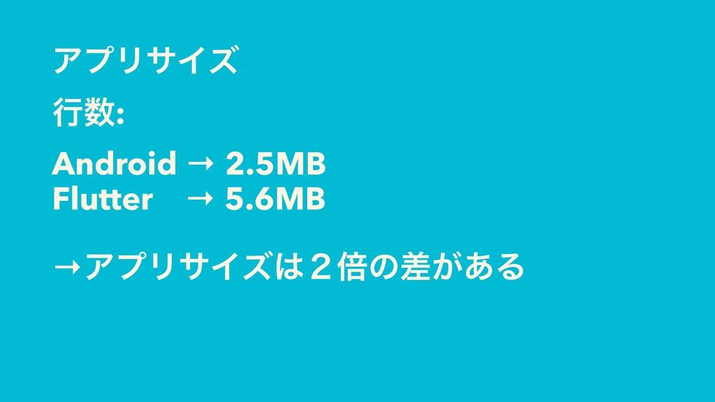 ΞϓϦαΠζ ߦ: Android → 2.5MB Flutter → 5.6MB →ΞϓϦ...