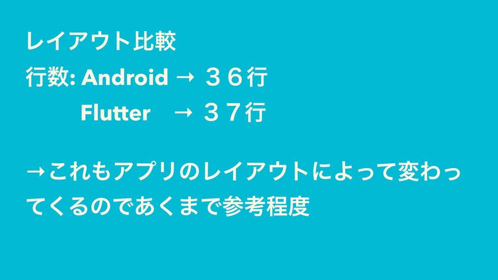 ϨΠΞτൺֱ ߦ: Android → ̏̒ߦ Flutter → ̏̓ߦ →͜ΕΞϓϦ...