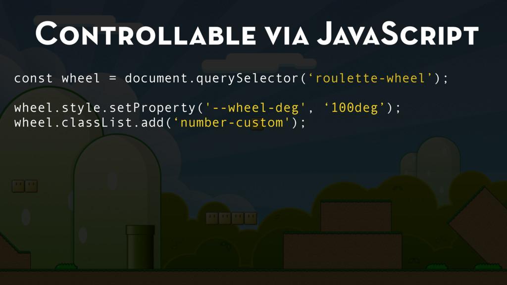 Controllable via JavaScript const wheel = docum...
