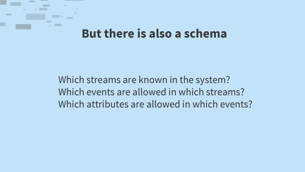 But there is also a schema Which streams are kn...