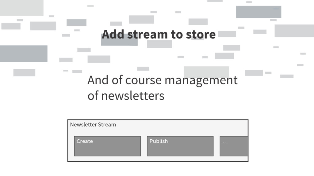 Add stream to store And of course management of...