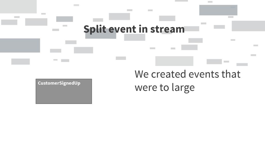 Split event in stream CustomerSignedUp We creat...