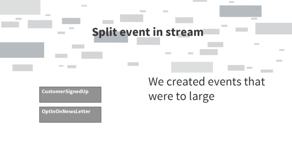 Split event in stream We created events that we...