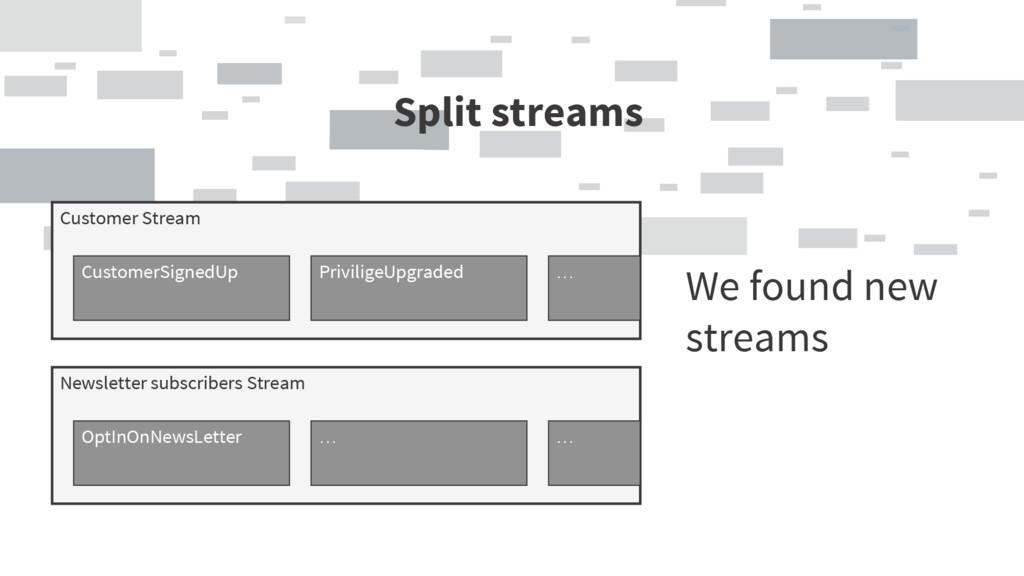 Split streams We found new streams Customer Str...