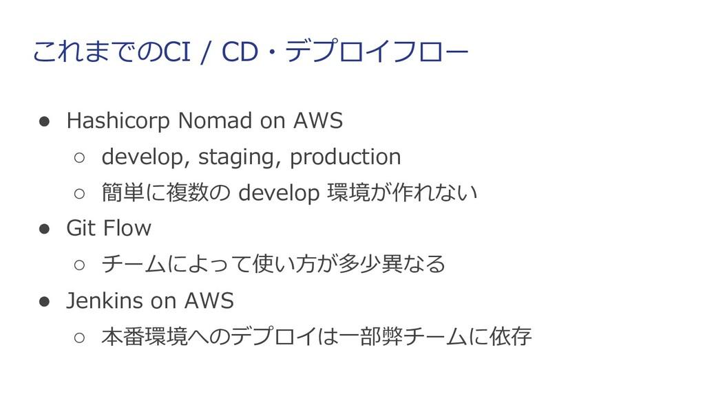 これまでのCI / CD・デプロイフロー ● Hashicorp Nomad on AWS ○...