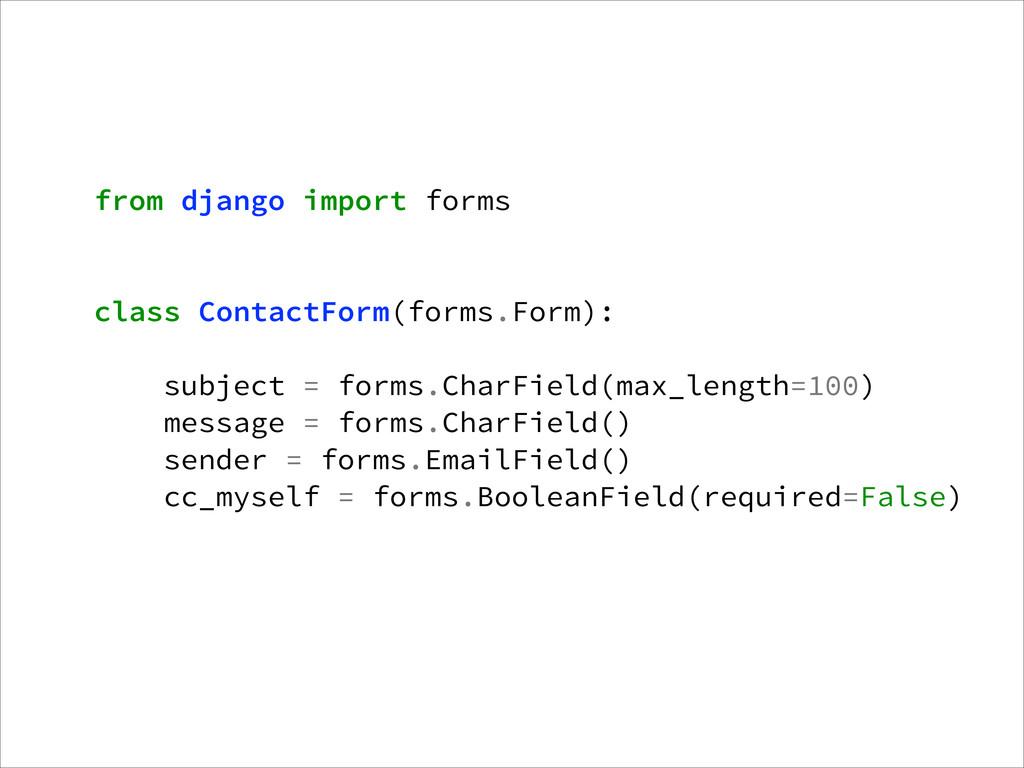 from django import forms ! ! class ContactForm(...