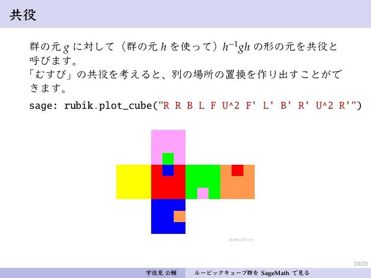 20/21 共役 群の元 g に対して(群の元 h を使って)h−1gh の形の元を共役と 呼...