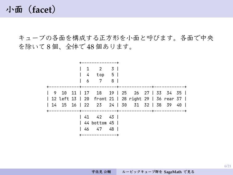 6/21 小面(facet) キューブの各面を構成する正方形を小面と呼びます。各面で中央 を除...