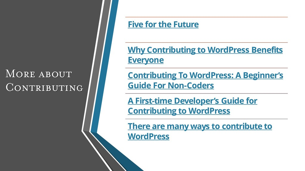 More about Contributing Five for the Future Why...