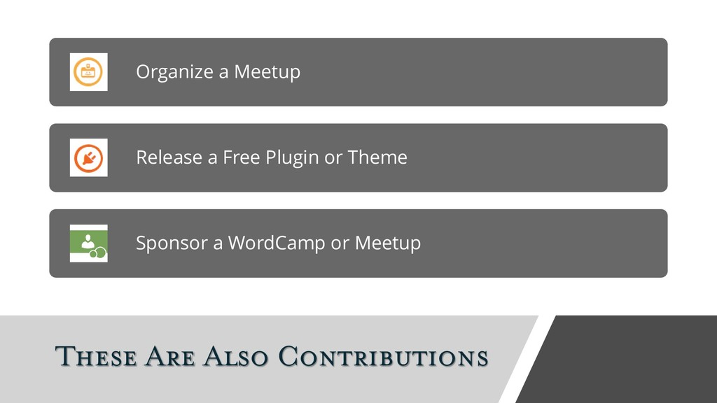 These Are Also Contributions Organize a Meetup ...