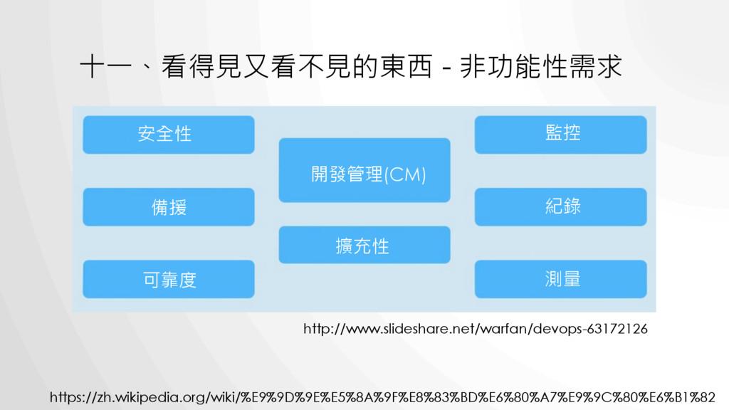 十一、看得見又看不見的東西 - 非功能性需求 http://www.slideshare.ne...