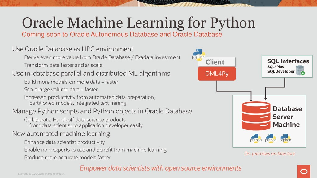 Oracle Machine Learning for Python Coming soon ...