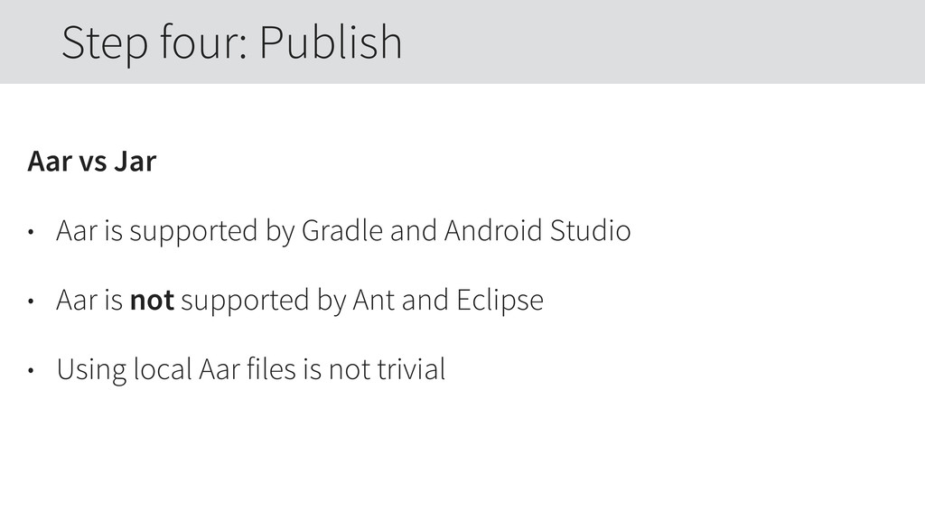 Aar vs Jar • Aar is supported by Gradle and And...
