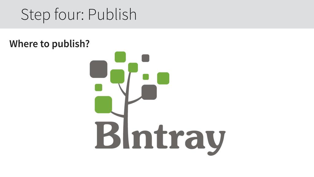 Where to publish? Step four: Publish