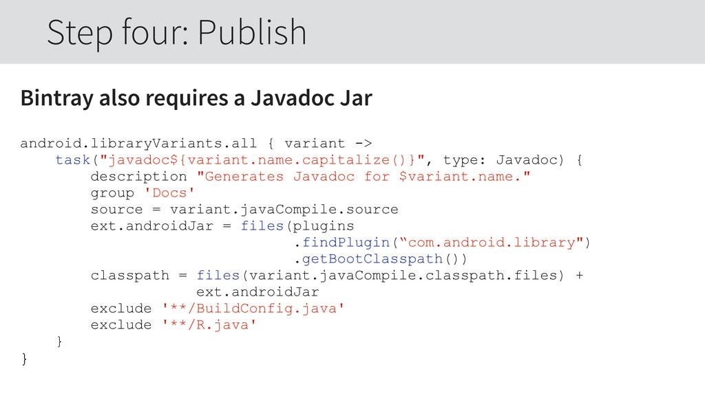Bintray also requires a Javadoc Jar android.lib...