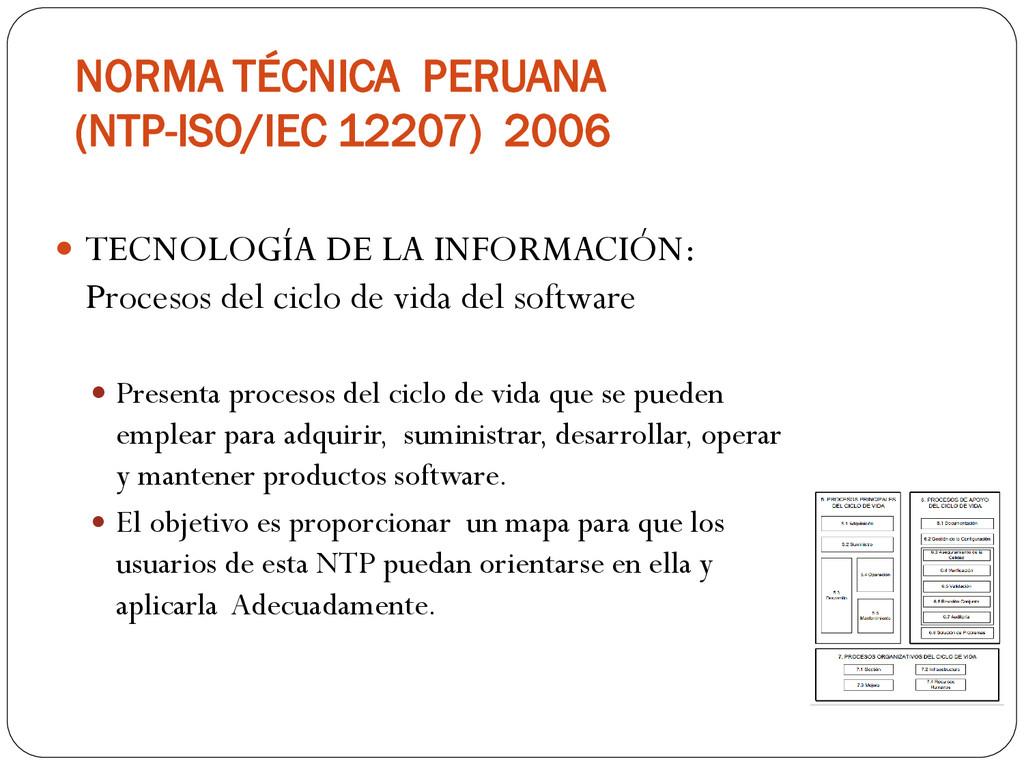 NORMA TÉCNICA PERUANA (NTP-ISO/IEC 12207) 2006 ...