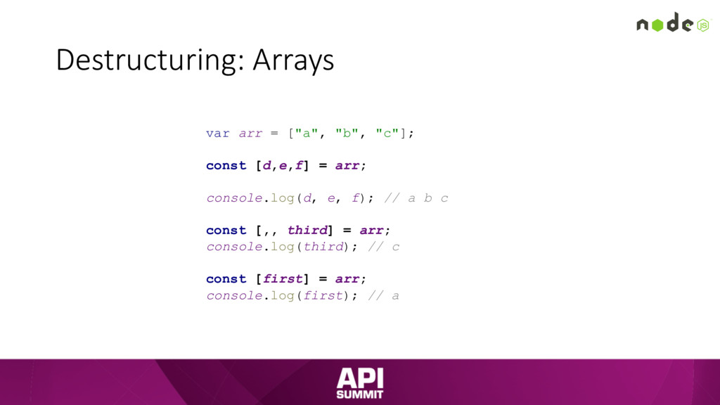 "Destructuring: Arrays var arr = [""a"", ""b"", ""c""]..."