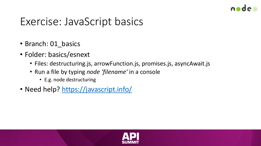 Exercise: JavaScript basics • Branch: 01_basics...
