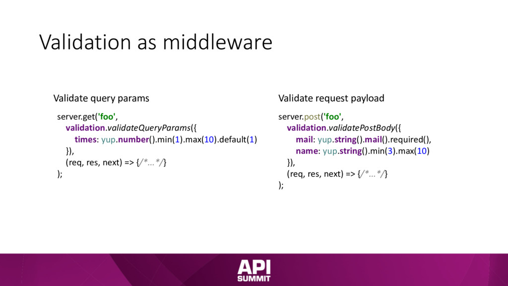 Validation as middleware server.get('foo', vali...