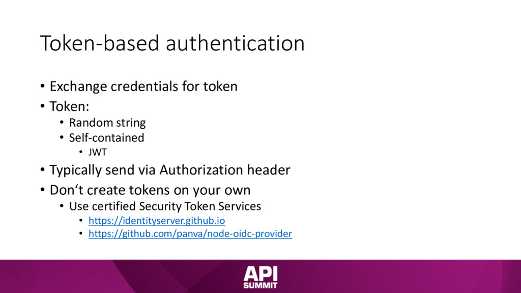 Token-based authentication • Exchange credentia...