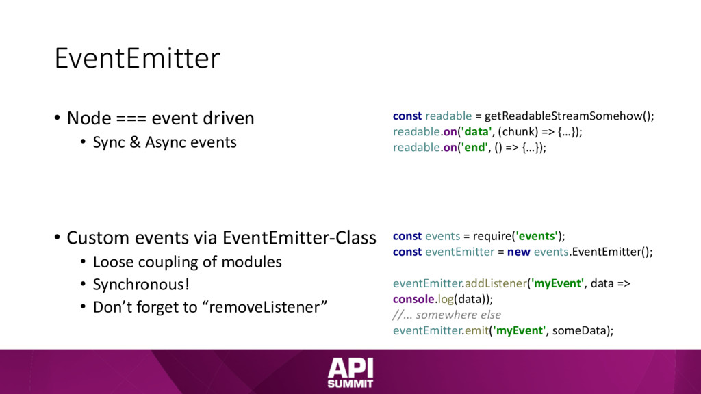 EventEmitter • Node === event driven • Sync & A...