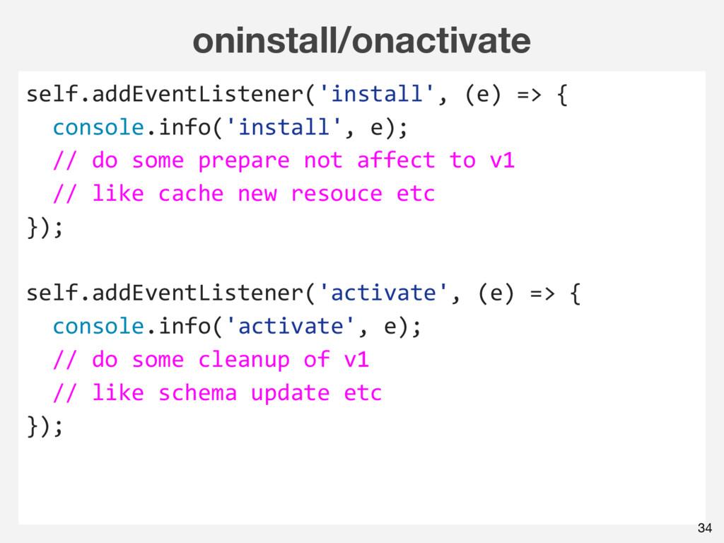 oninstall/onactivate self.addEventListener('ins...