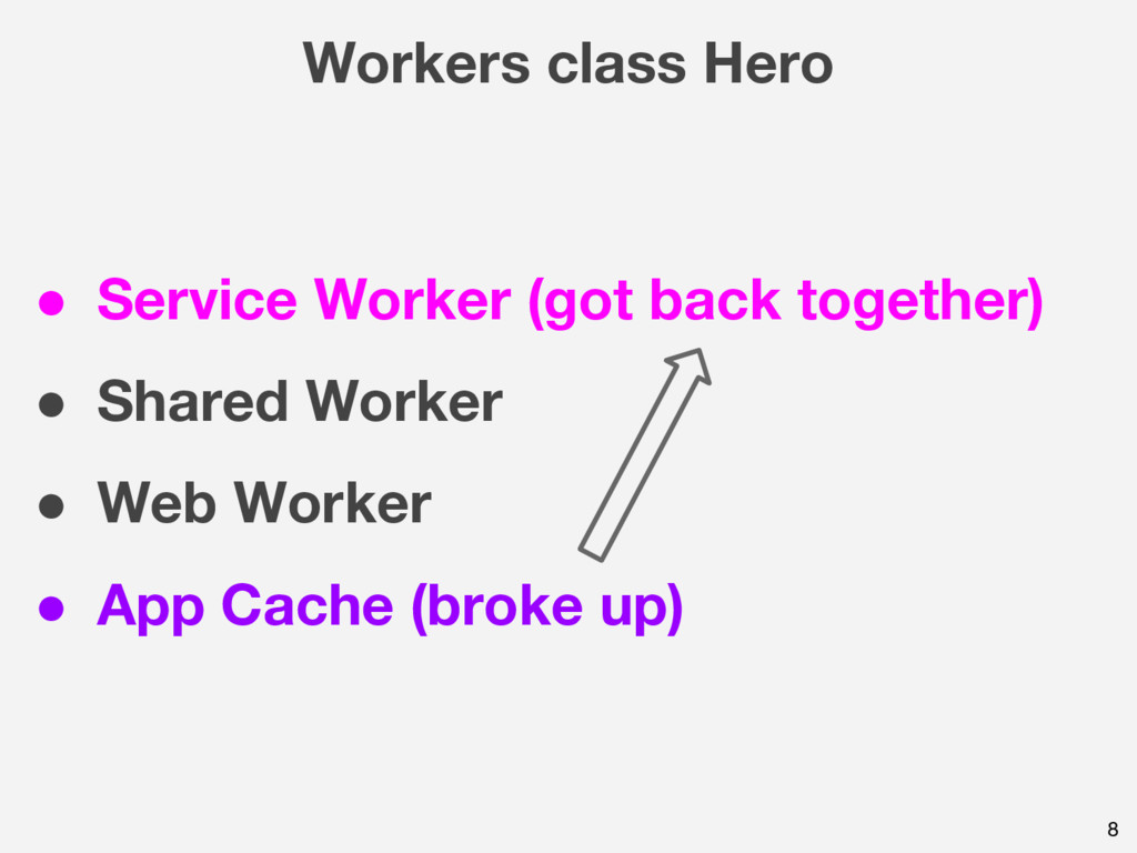 Workers class Hero 8 ● Service Worker (got back...