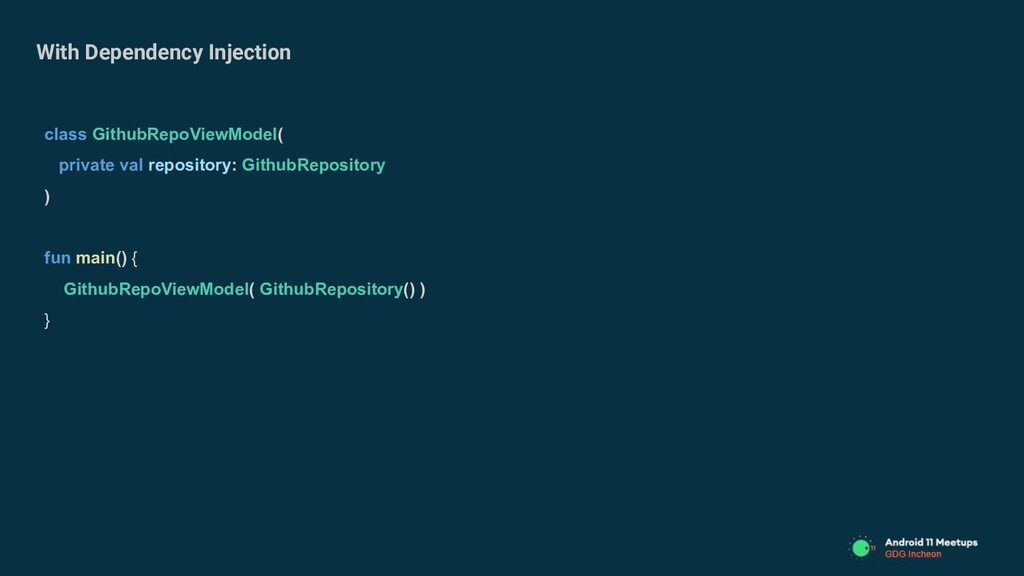 With Dependency Injection class GithubRepoViewM...