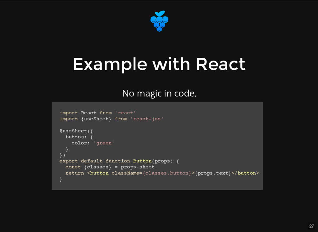 27 Example with React Example with React import...