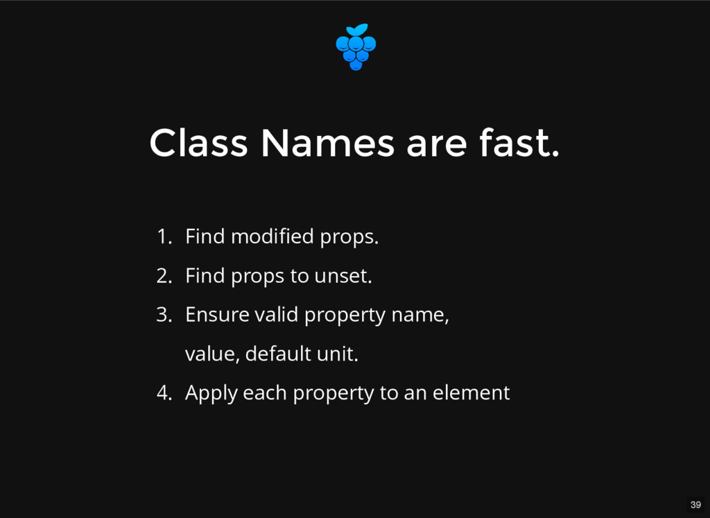 39 Class Names are fast. Class Names are fast. ...