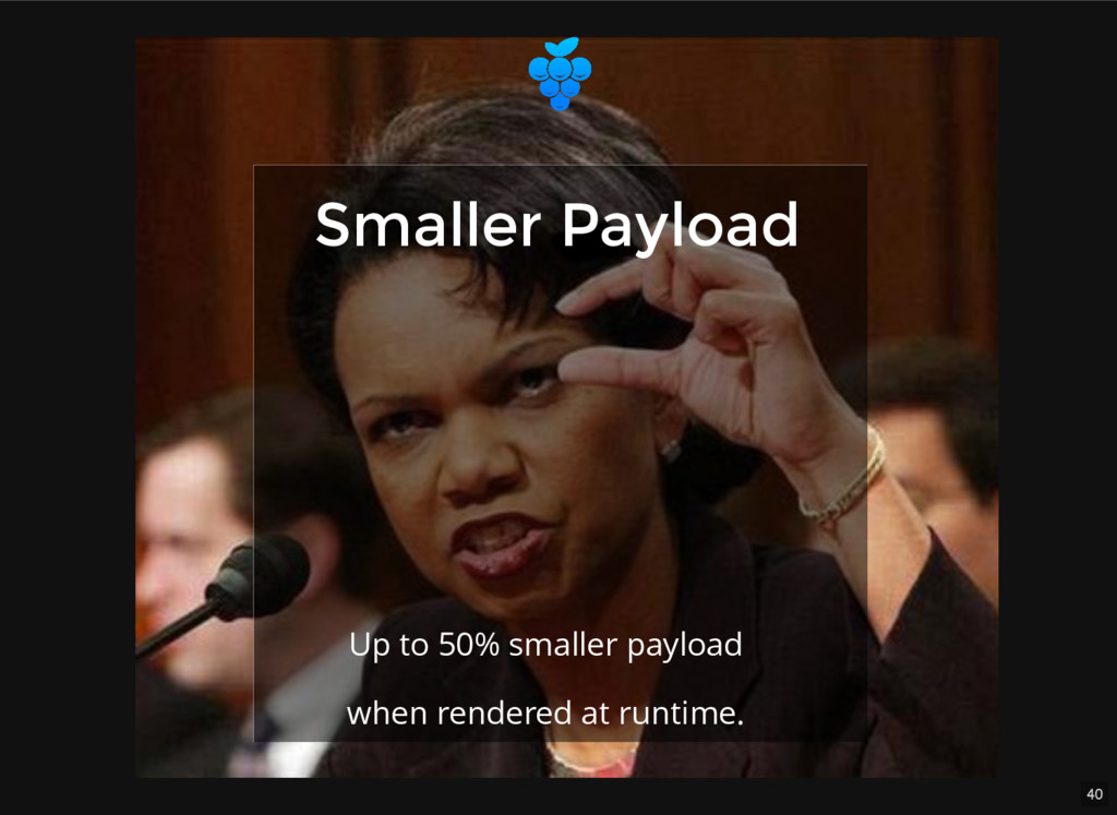40 Smaller Payload Smaller Payload Up to 50% sm...