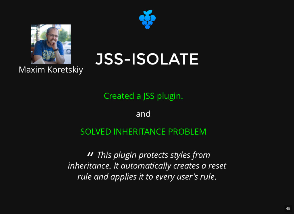 45 JSS-ISOLATE JSS-ISOLATE Created a JSS plugin...