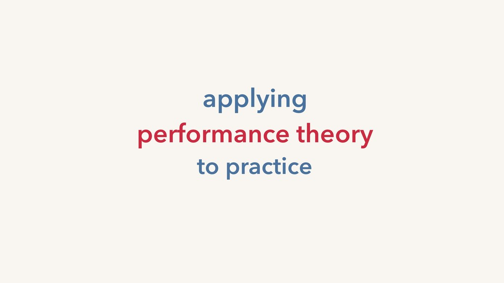 applying performance theory to practice