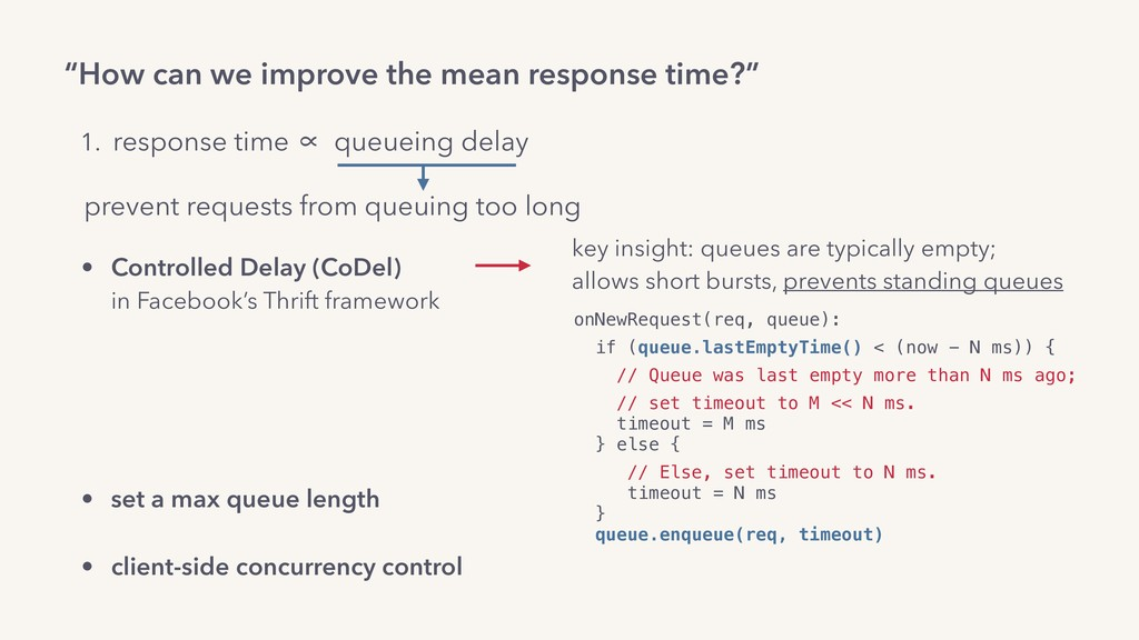 """How can we improve the mean response time?"" on..."