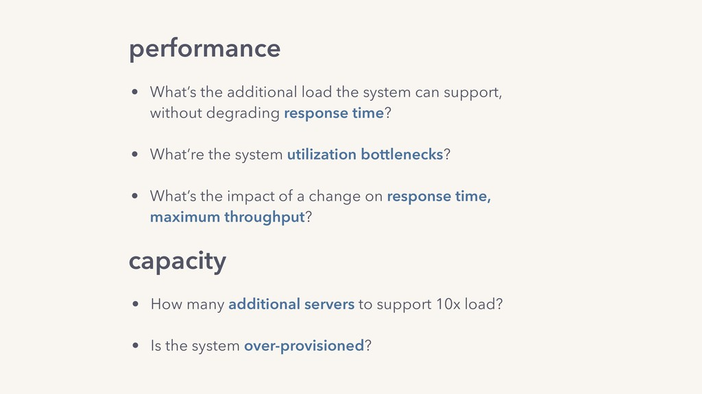 performance capacity • What's the additional lo...