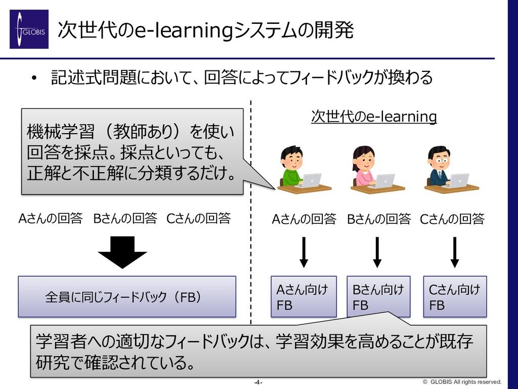 次世代のe-learningシステムの開発 • 記述式問題において、回答によってフィードバック...