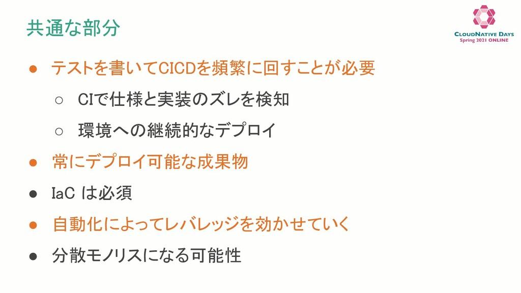 共通な部分 ● テストを書いてCICDを頻繁に回すことが必要 ○ CIで仕様と実装のズレを...