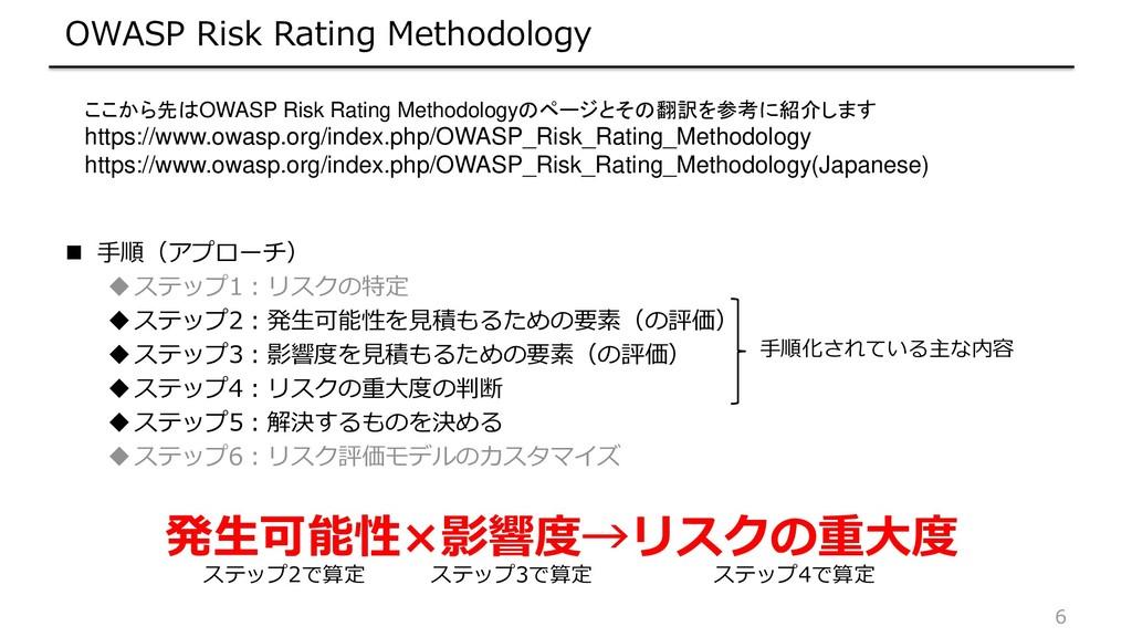 6 OWASP Risk Rating Methodology  手順(アプローチ) ステ...