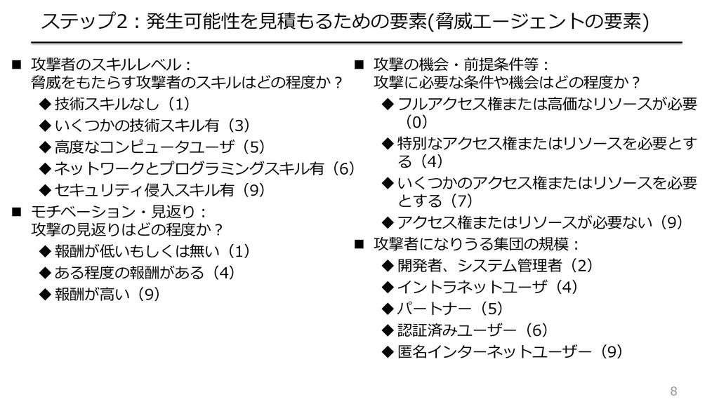 8 ステップ2:発生可能性を見積もるための要素(脅威エージェントの要素)  攻撃者のスキルレ...
