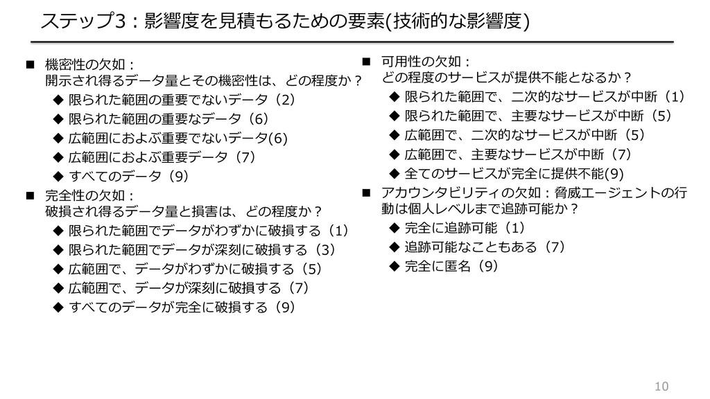 10 ステップ3:影響度を見積もるための要素(技術的な影響度)  機密性の欠如: 開示され得...