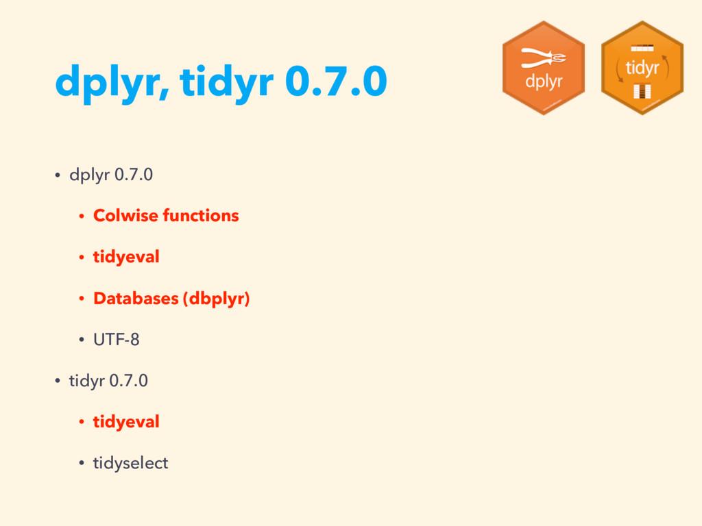 dplyr, tidyr 0.7.0 • dplyr 0.7.0 • Colwise func...